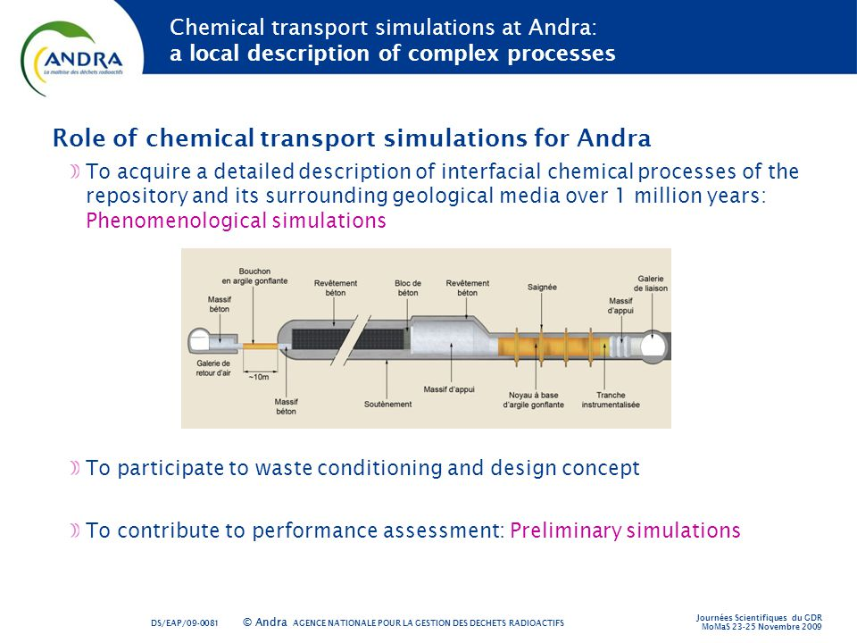 Role of chemical transport simulations for Andra
