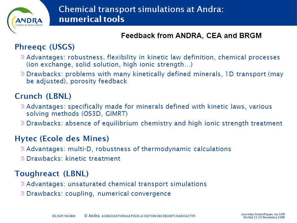 Chemical transport simulations at Andra: numerical tools
