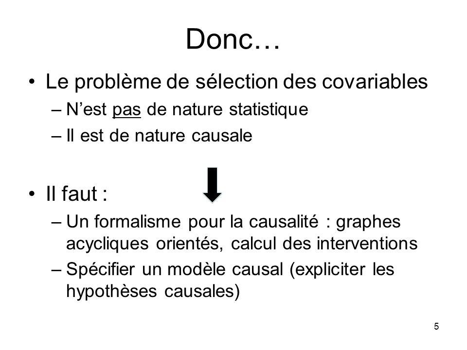 Donc… Le problème de sélection des covariables Il faut :