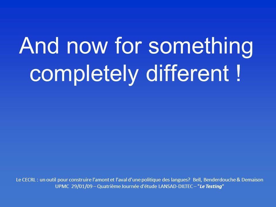 UPMC 29/01/09 – Quatrième Journée d étude LANSAD-DILTEC – Le Testing