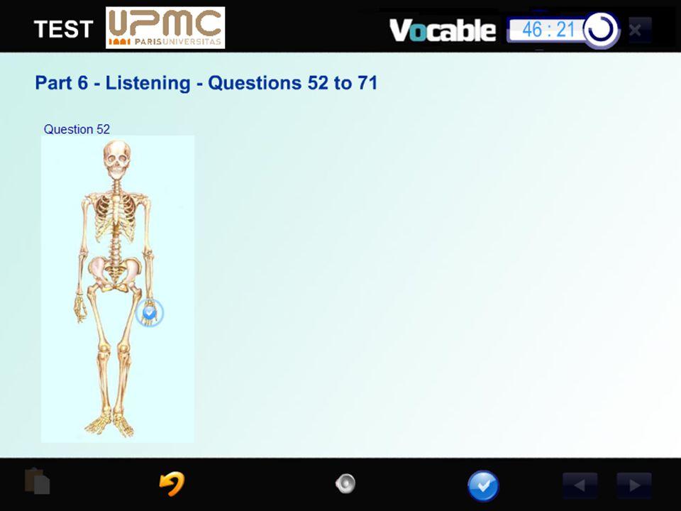 Exemple d'item de Compréhension orale ou le candidat entend une question et doit cliquer sur la chose nommé.