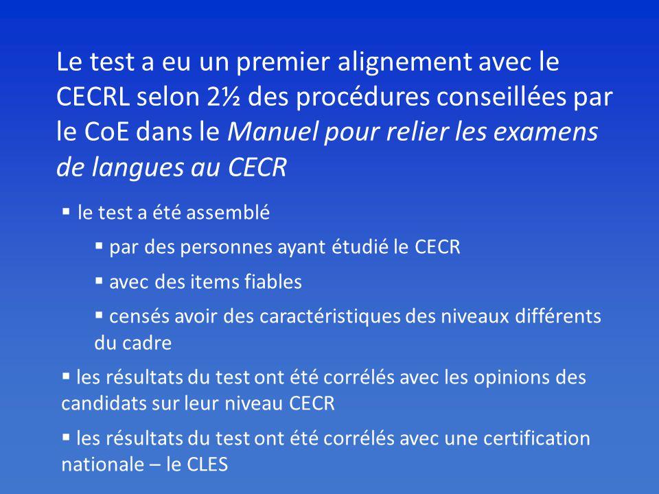 Le test a eu un premier alignement avec le CECRL selon 2½ des procédures conseillées par le CoE dans le Manuel pour relier les examens de langues au CECR