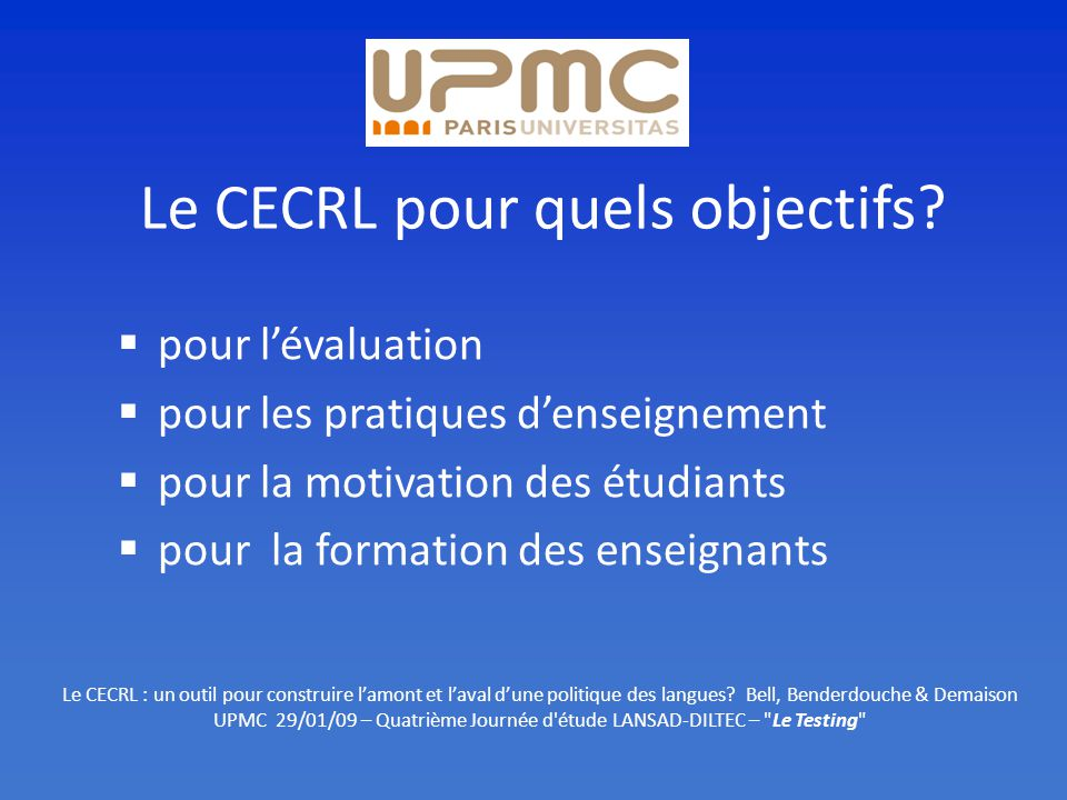 Le CECRL pour quels objectifs