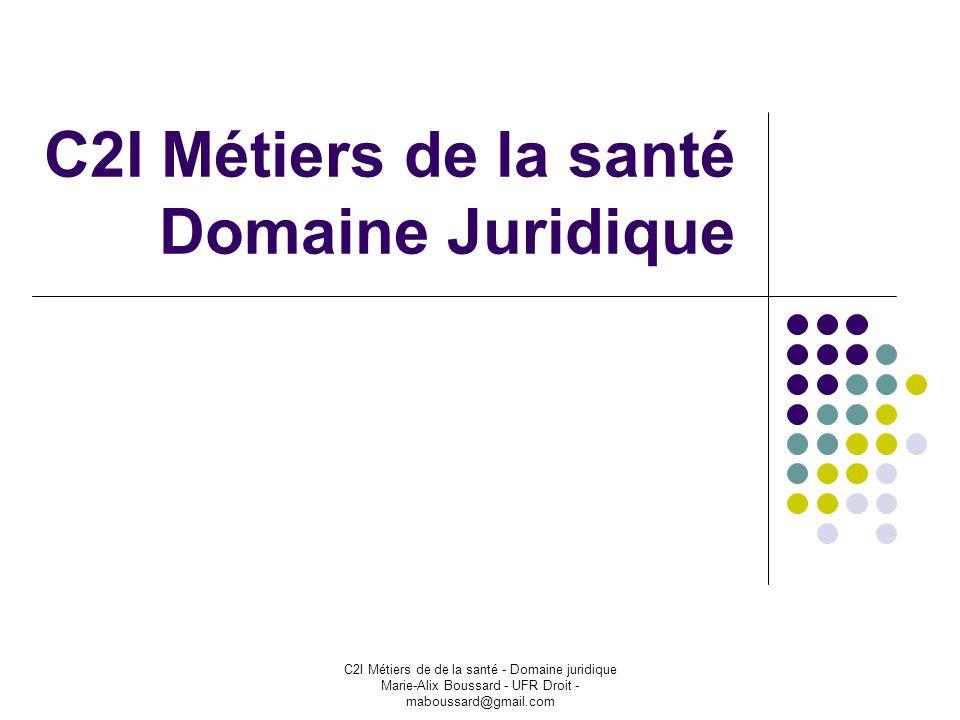 C2I Métiers de la santé Domaine Juridique