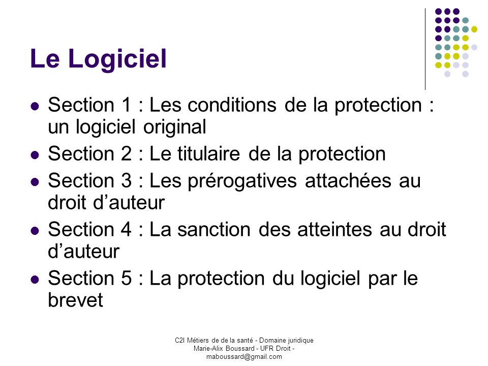 Le Logiciel Section 1 : Les conditions de la protection : un logiciel original. Section 2 : Le titulaire de la protection.