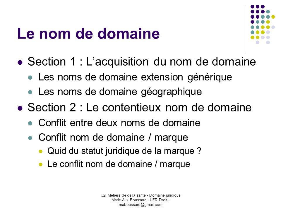 Le nom de domaine Section 1 : L'acquisition du nom de domaine
