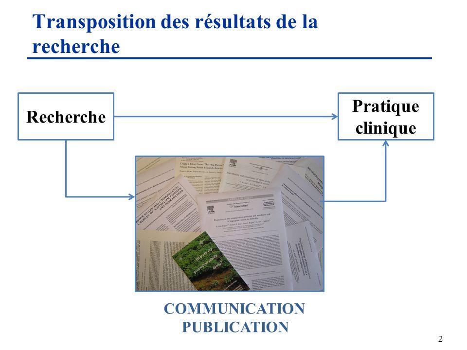 Transposition des résultats de la recherche