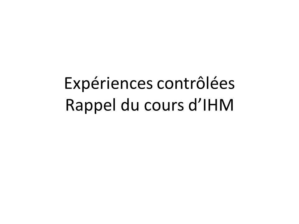 Expériences contrôlées Rappel du cours d'IHM