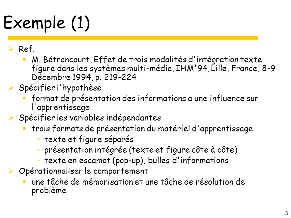 Exemple (1) Ref.