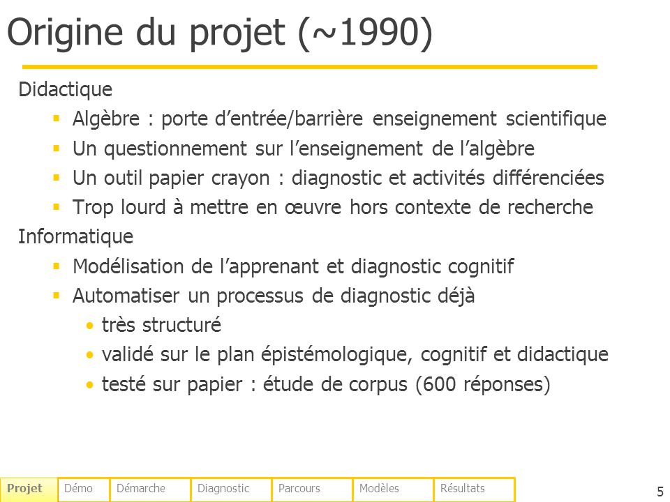 Origine du projet (~1990) Didactique