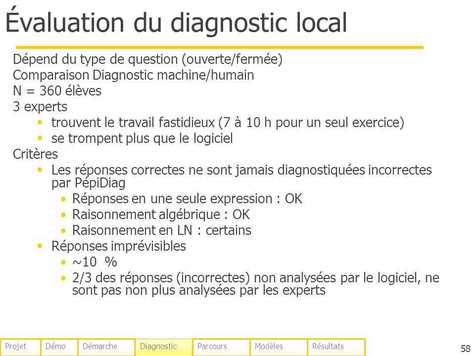 Évaluation du diagnostic local