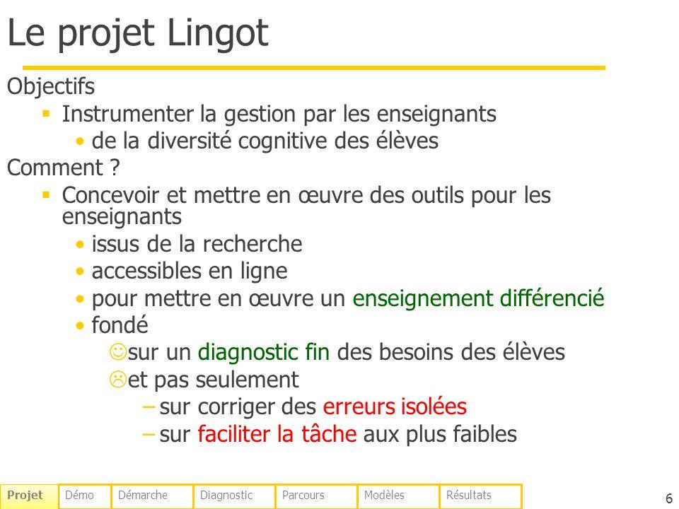 Le projet Lingot Objectifs Instrumenter la gestion par les enseignants