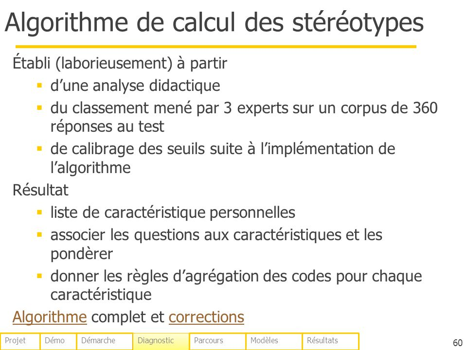 Algorithme de calcul des stéréotypes