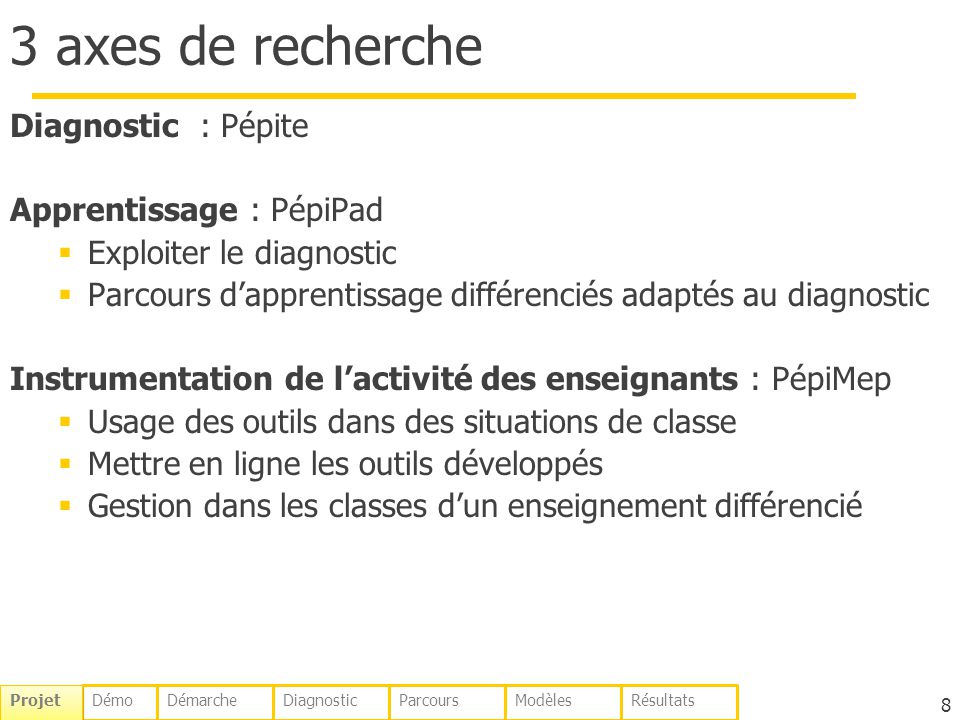 3 axes de recherche Diagnostic : Pépite Apprentissage : PépiPad