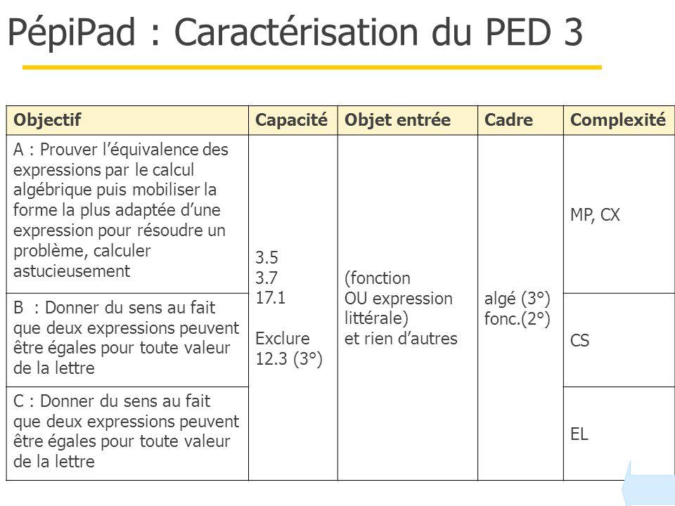 PépiPad : Caractérisation du PED 3