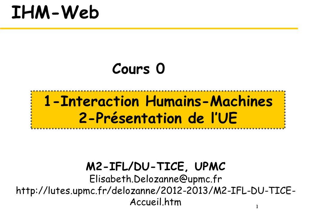 1-Interaction Humains-Machines 2-Présentation de l'UE