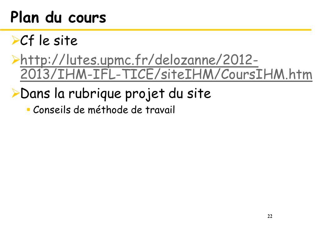 Plan du cours Cf le site. http://lutes.upmc.fr/delozanne/2012-2013/IHM-IFL-TICE/siteIHM/CoursIHM.htm.
