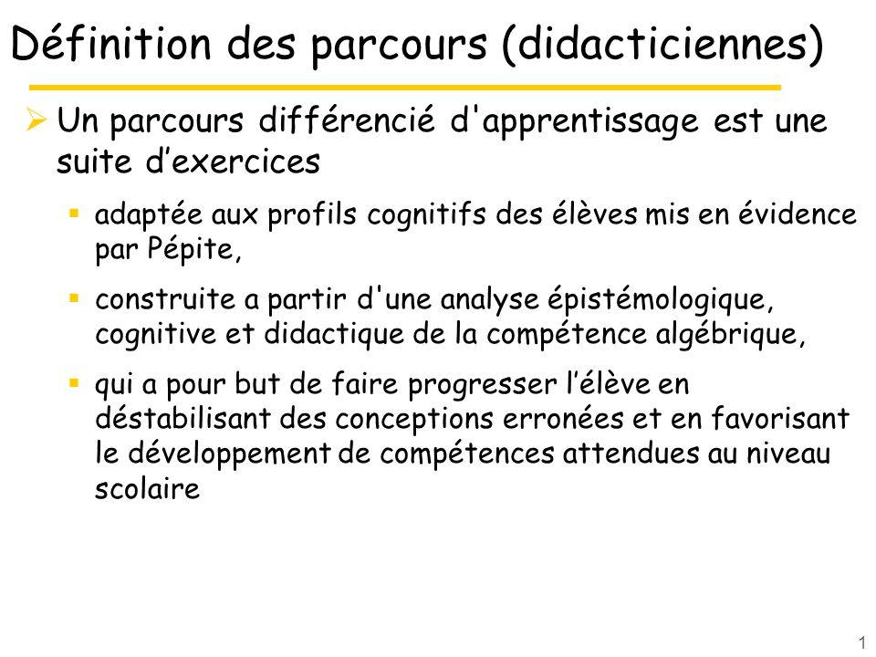 Définition des parcours (didacticiennes)