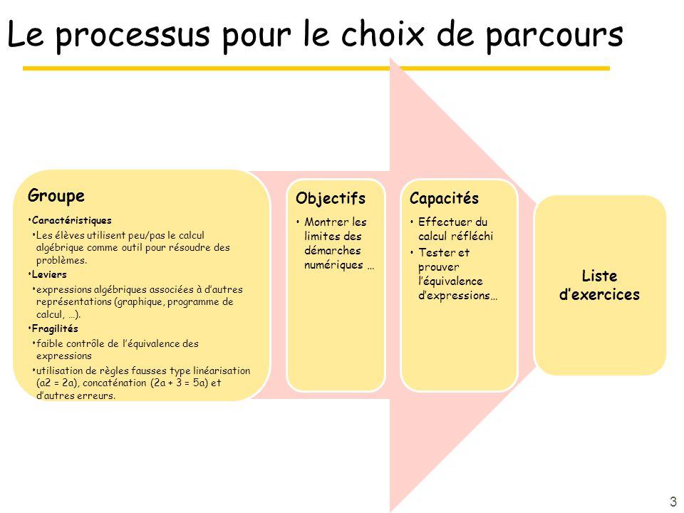 Le processus pour le choix de parcours