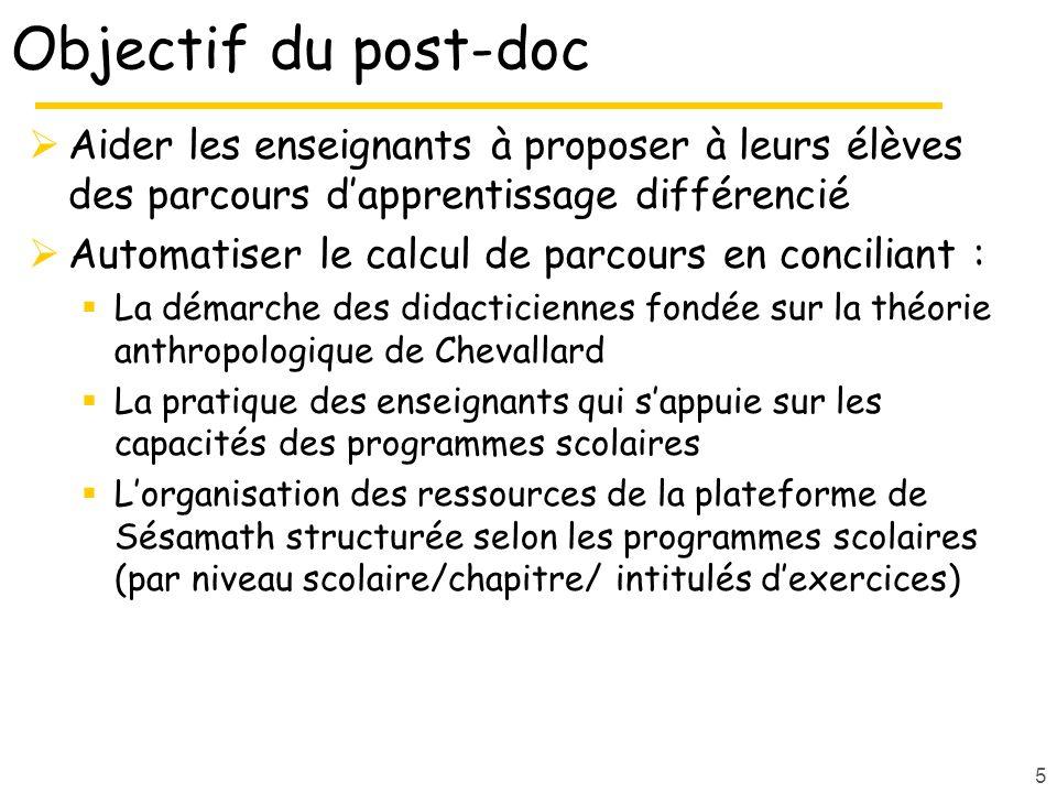 Objectif du post-doc Aider les enseignants à proposer à leurs élèves des parcours d'apprentissage différencié.