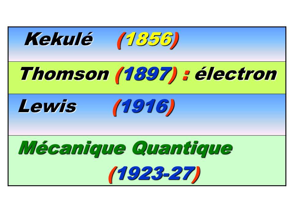 Kekulé (1856) Thomson (1897) : électron Lewis (1916)