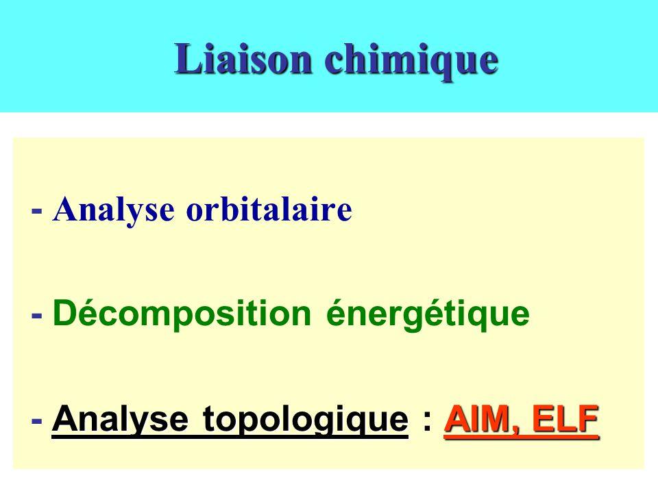 Liaison chimique - Analyse orbitalaire - Décomposition énergétique