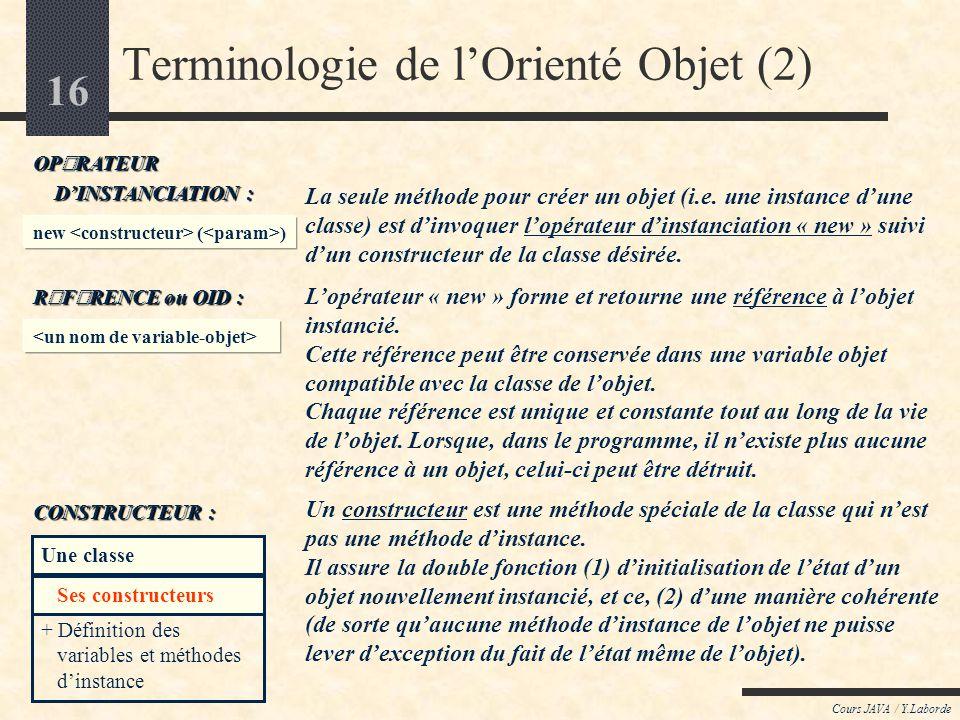 Terminologie de l'Orienté Objet (2)