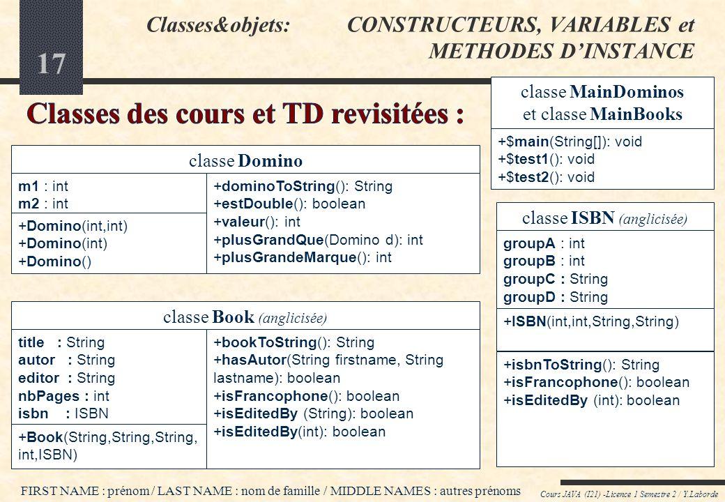 Classes&objets: CONSTRUCTEURS, VARIABLES et METHODES D'INSTANCE