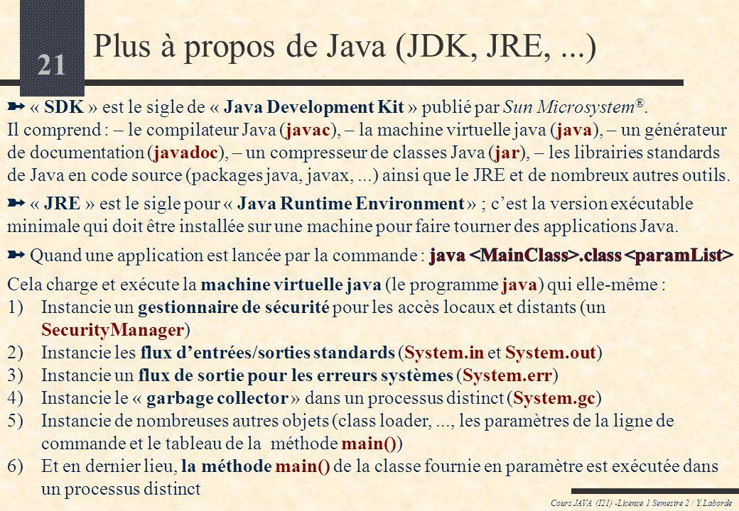 Plus à propos de Java (JDK, JRE, ...)