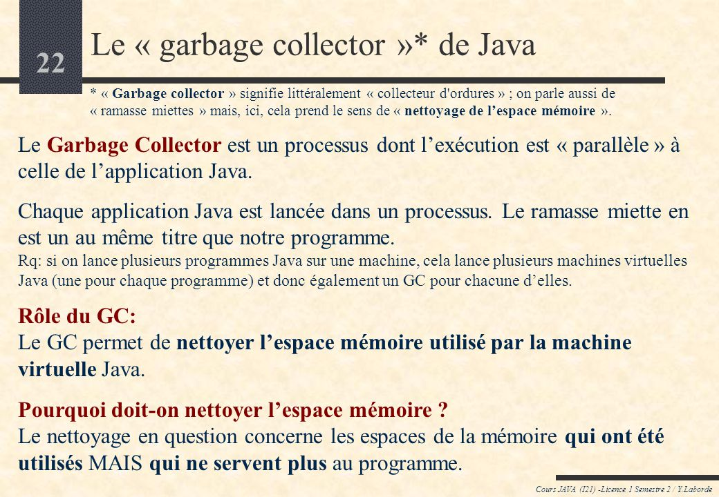 Le « garbage collector »* de Java