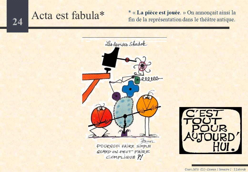 Acta est fabula* * « La pièce est jouée. » On annonçait ainsi la fin de la représentation dans le théâtre antique.