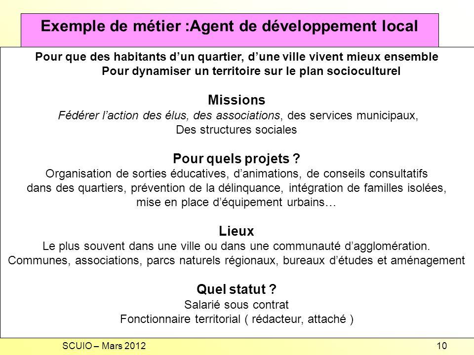 Exemple de métier :Agent de développement local