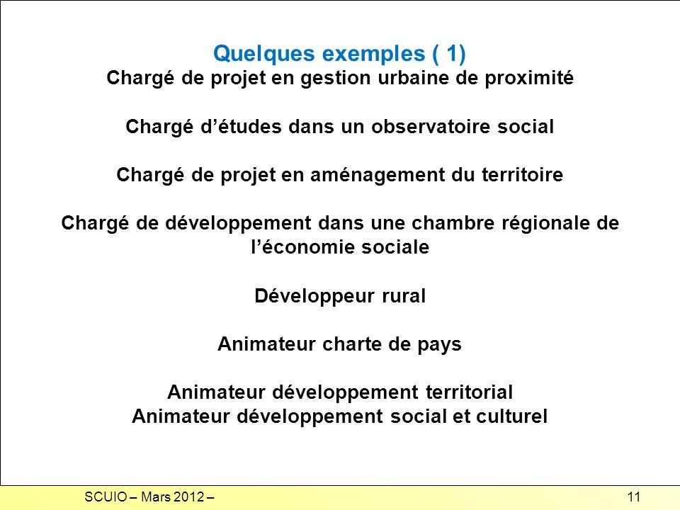 Quelques exemples ( 1) Chargé de projet en gestion urbaine de proximité. Chargé d'études dans un observatoire social.