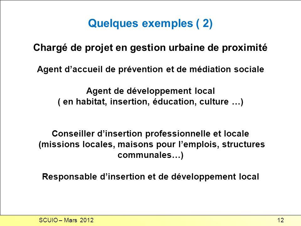 Quelques exemples ( 2) Chargé de projet en gestion urbaine de proximité. Agent d'accueil de prévention et de médiation sociale.