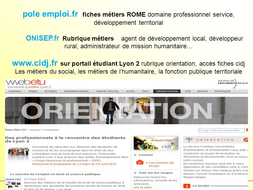 pole emploi.fr fiches métiers ROME domaine professionnel service, développement territorial