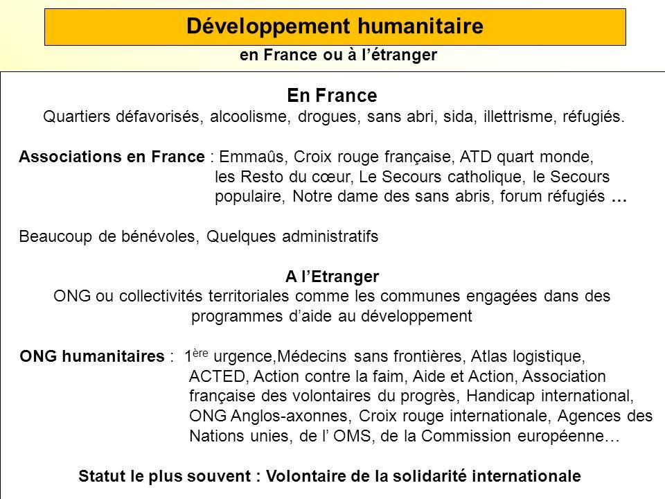 Développement humanitaire en France ou à l'étranger