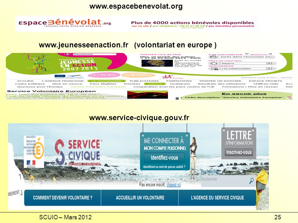 www.jeunesseenaction.fr (volontariat en europe )