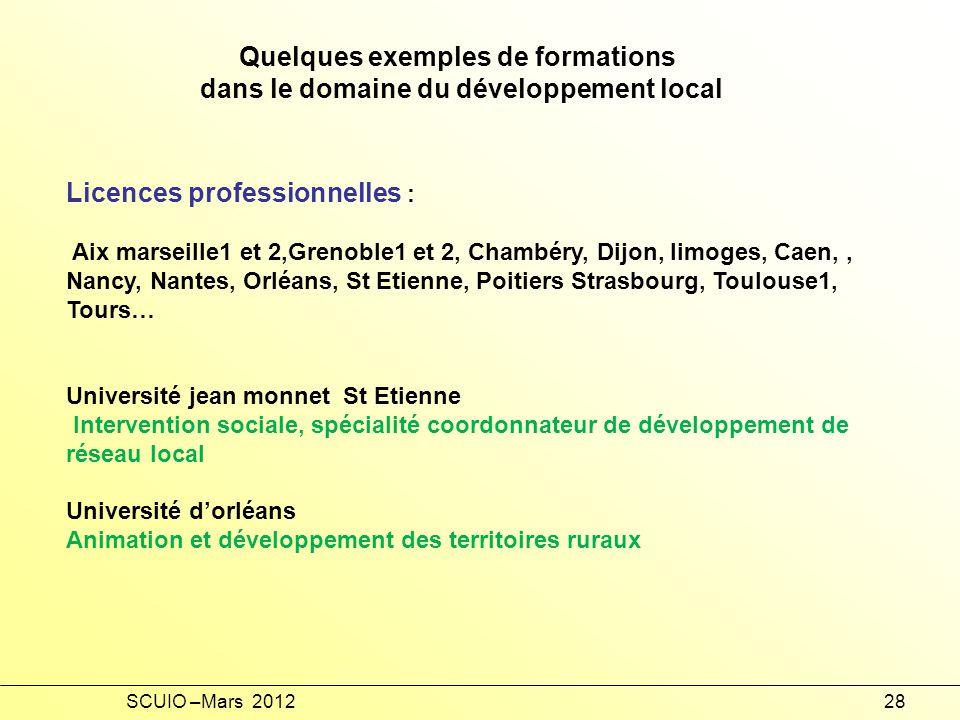 Quelques exemples de formations dans le domaine du développement local