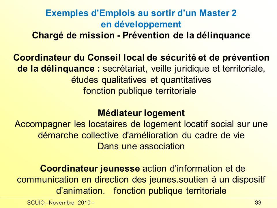 Exemples d'Emplois au sortir d'un Master 2 en développement