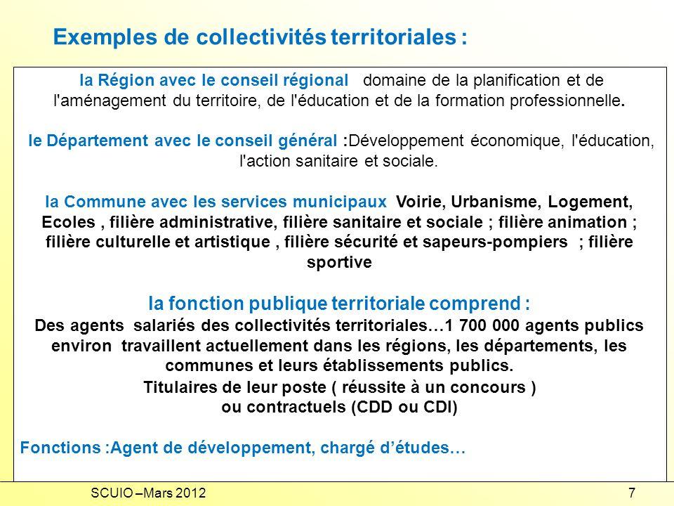 Exemples de collectivités territoriales :