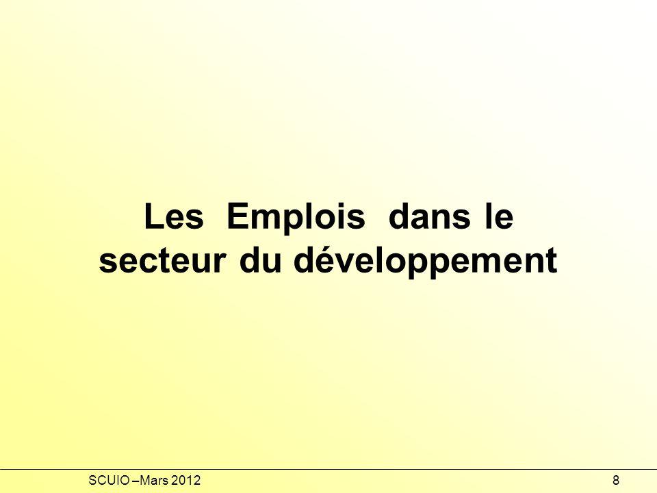 Les Emplois dans le secteur du développement