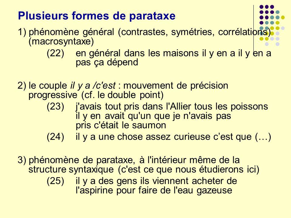 Plusieurs formes de parataxe