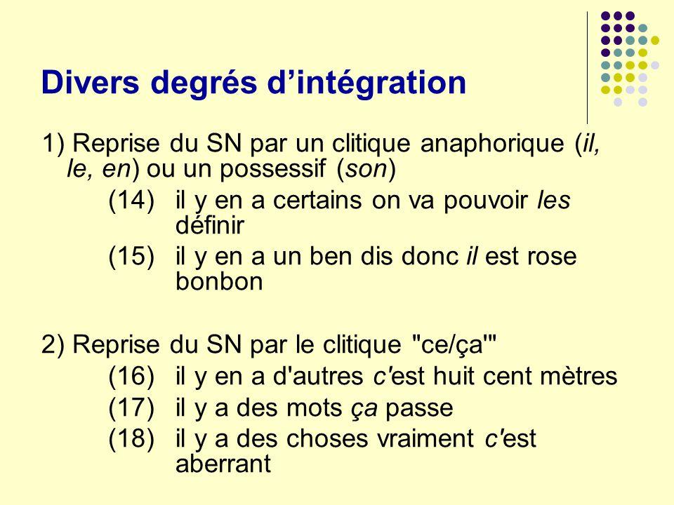 Divers degrés d'intégration