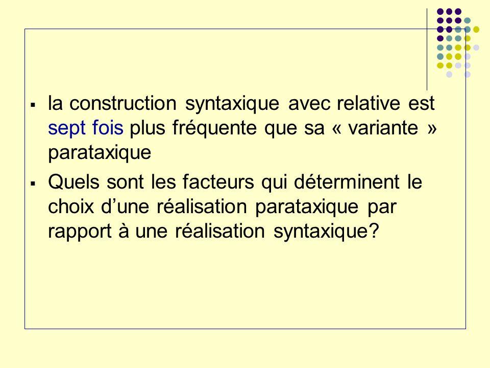 la construction syntaxique avec relative est sept fois plus fréquente que sa « variante » parataxique