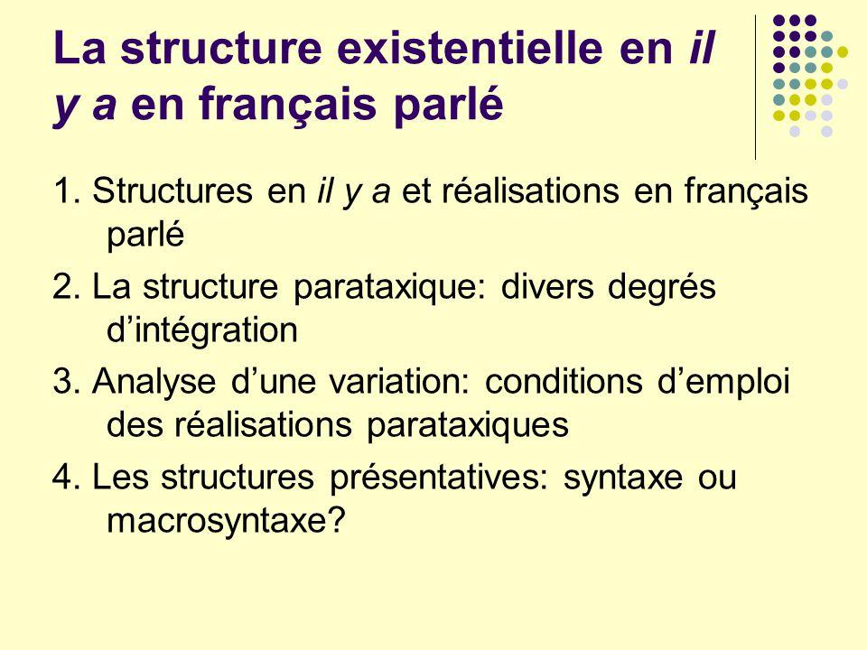 La structure existentielle en il y a en français parlé