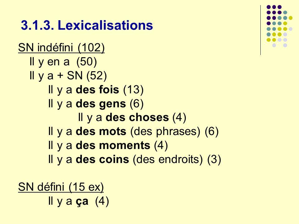 3.1.3. Lexicalisations SN indéfini (102) Il y en a (50)