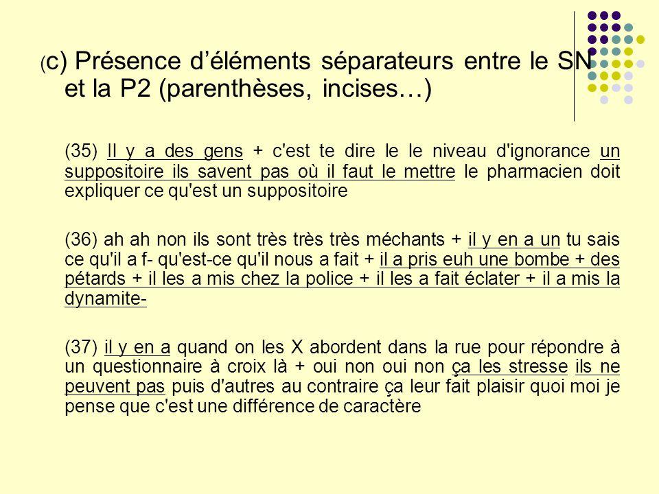 (c) Présence d'éléments séparateurs entre le SN et la P2 (parenthèses, incises…)