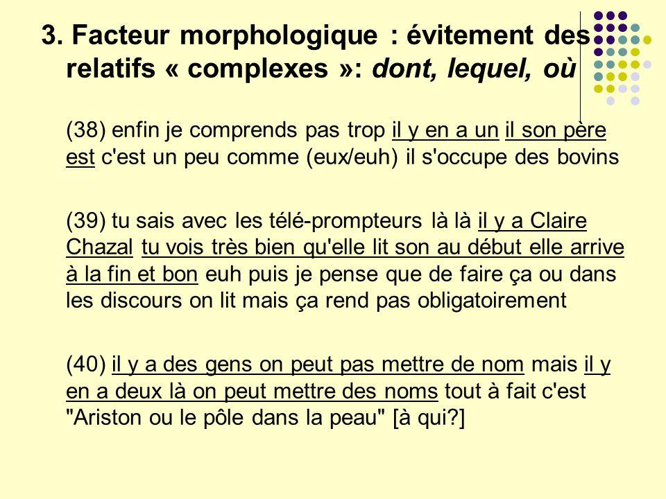 3. Facteur morphologique : évitement des relatifs « complexes »: dont, lequel, où