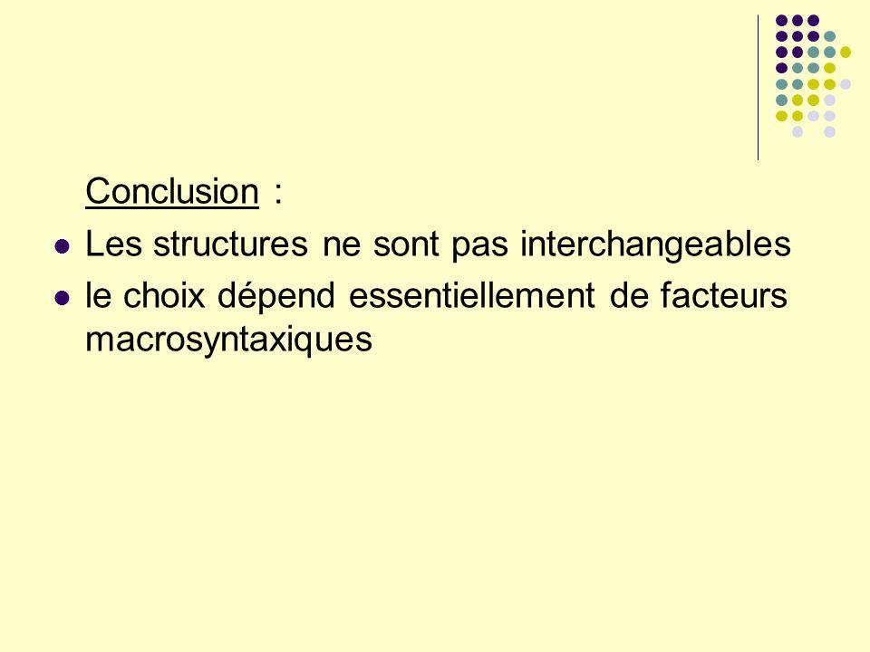 Conclusion : Les structures ne sont pas interchangeables.