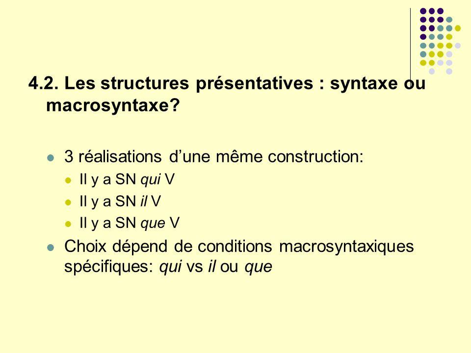 4.2. Les structures présentatives : syntaxe ou macrosyntaxe